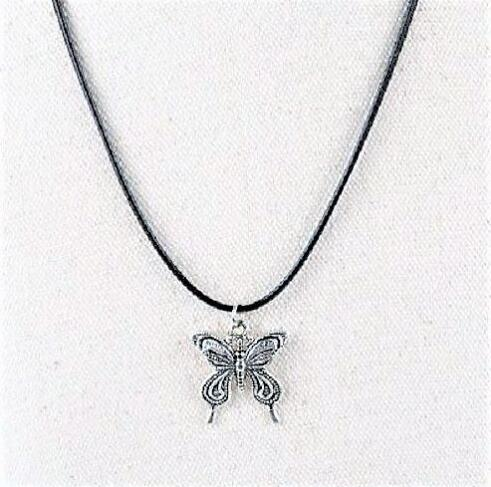 80cm Length Romantic White Butterfly Leather Cord Long Necklace