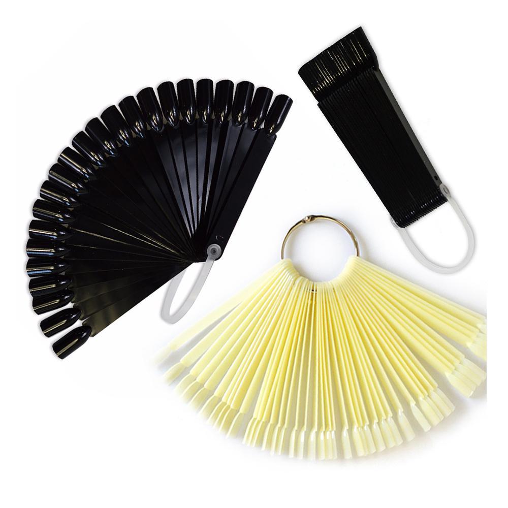 1 Set falsche Kunstspitzen Fächerentwürfe anzeigen Transparent Natur Schwarz Farbe Trainingspalette Nägel Werkzeuge Maniküre Sa386