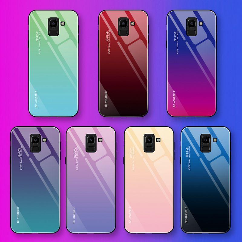 Закаленное стекло градиентный чехол для Samsung Galaxy S9 S10 Plus Note 9 Аврора Красочный чехол
