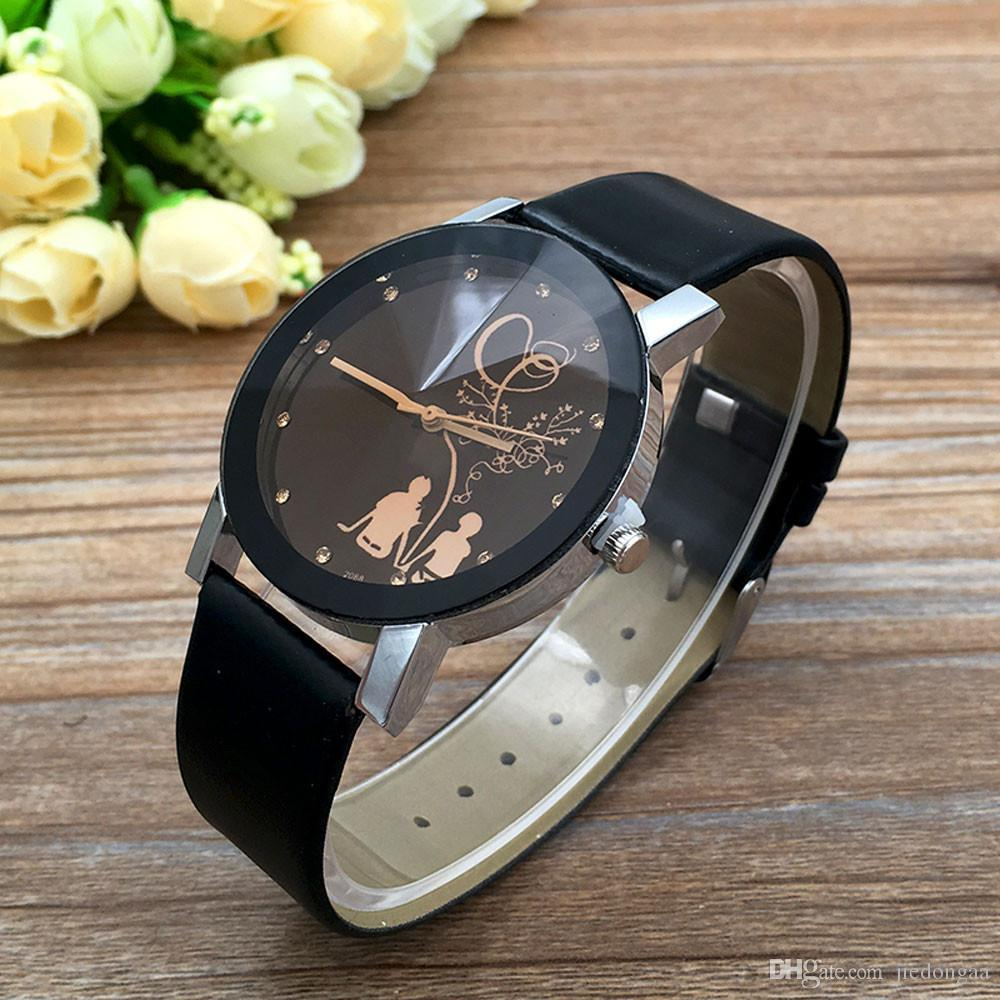 Black Leather Strap Watch Women Men Ladies Student Couple Stylish Spire Glass Belt Quartz Watch to Lover #20