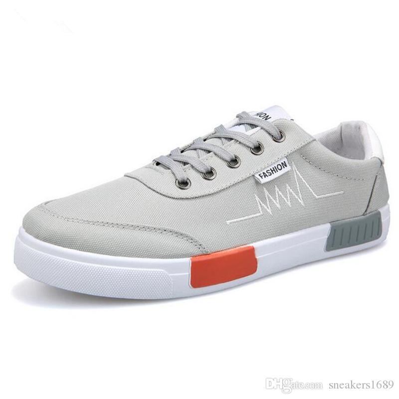 Frühling Herbst Männer Komfort grau Schuhe 2019 neue atmungsaktive Mode Männer Casual Segeltuchschuhe Zapatos Hombre Mens Flats X159