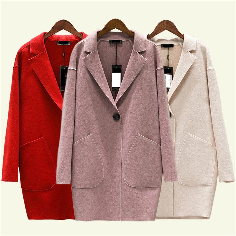 Mujeres lana capa del otoño nuevo Cashmere gran tamaño resorte chaqueta delgada Mediun cachemira color femenino largo sólido prendas de vestir exteriores DT0170