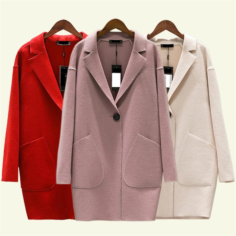Frauen Wollmantel des Herbst neue Cashmere großer dünne Jacke Frühling mediun langer Normallack weiblichen Kaschmir Oberbekleidung DT0170