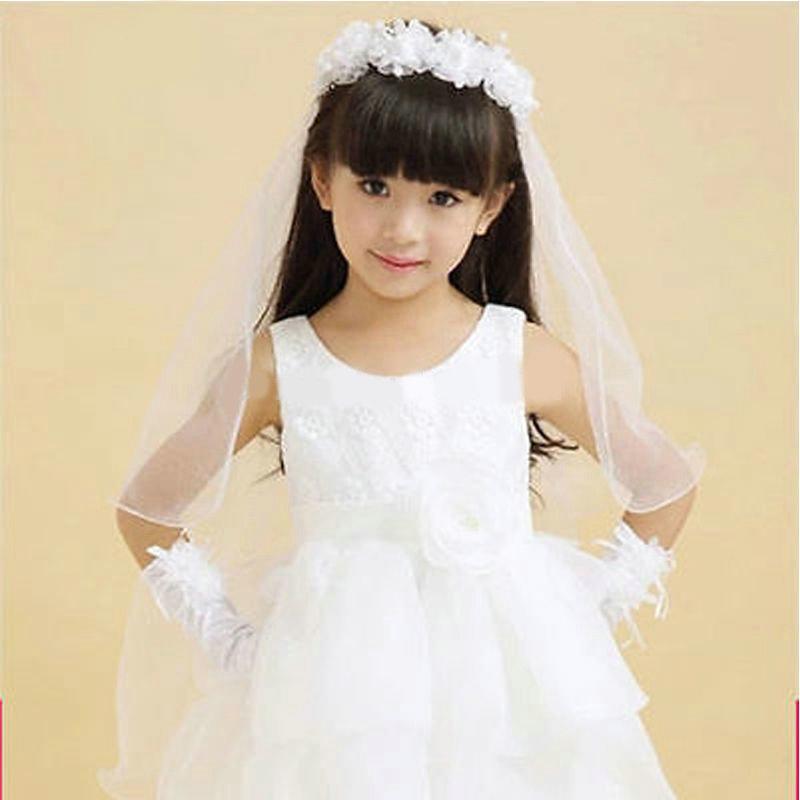 2020 Newst blanco y rosa de la muchacha de flor velo de novia con corona de velo de novia para niñas precio barato