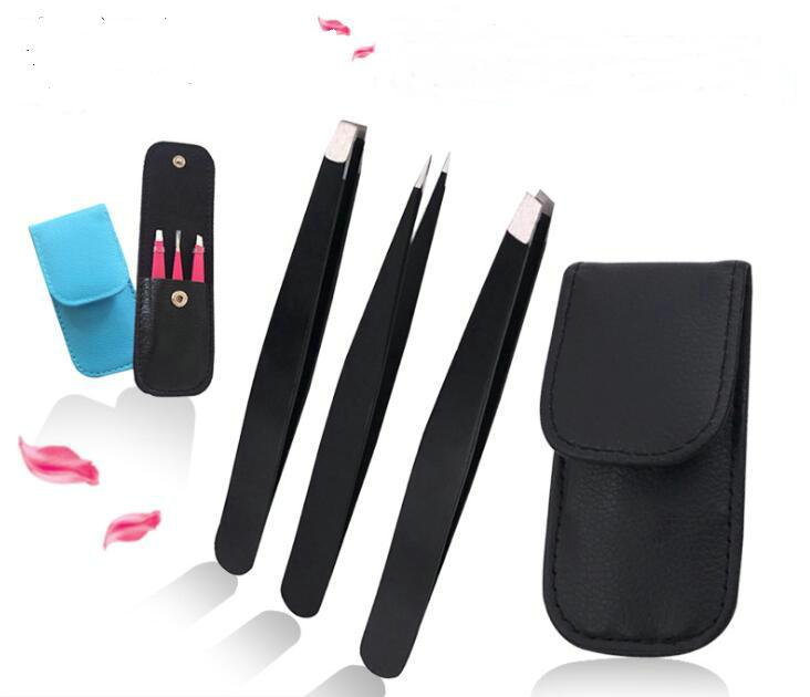3 PCS /set Eyebrow Tweezers Stainless Steel with Bag case Point Tip/Slant Tip/Flat Tip Hair Removal Makeup Tools Accessory