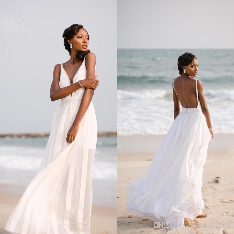 2019 robes de mariée plage avec appliques spaghetti robes de mariée col v profond une robe de ligne pour la noce