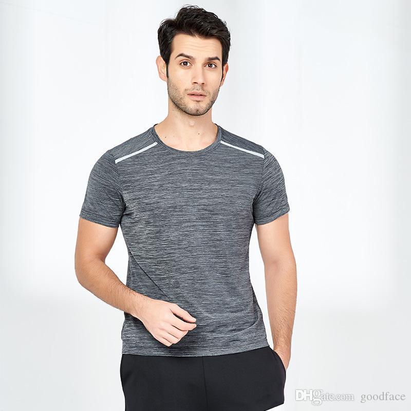 Verão em torno do pescoço de secagem rápida de manga curta Hygroscopic Sweat-transpiração corrente de secagem rápida roupa da aptidão por goodface