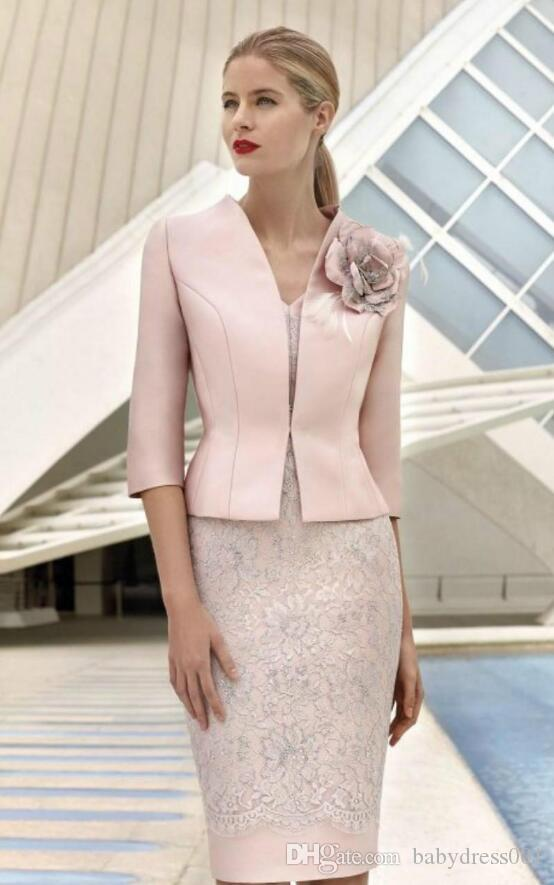 Élégant rose mère de la mariée robes avec veste 3/4 manches vol veau dentelle dentelle mariage robe gouette longueur fleurs formelle tenue mère
