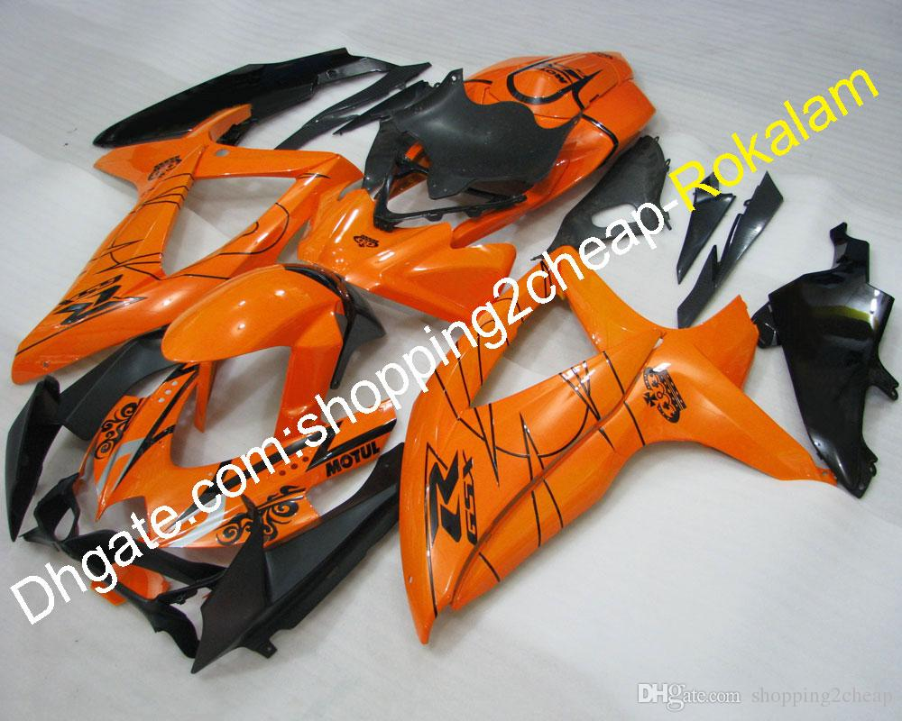 Orange Black Fairings For Suzuki GSXR600-750 K8 2008-2010 GSXR 600 GSXR750 2008 2009 ABS Plastic Body Fairing Kits (Injection molding)
