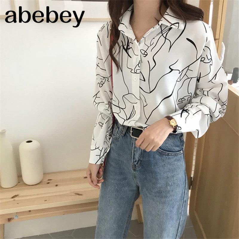 Astratte stampa di base minimalista camicette 2020 tutto il fiammifero libero elegante di modo Florals coreano allentati Maglie a manica lunga
