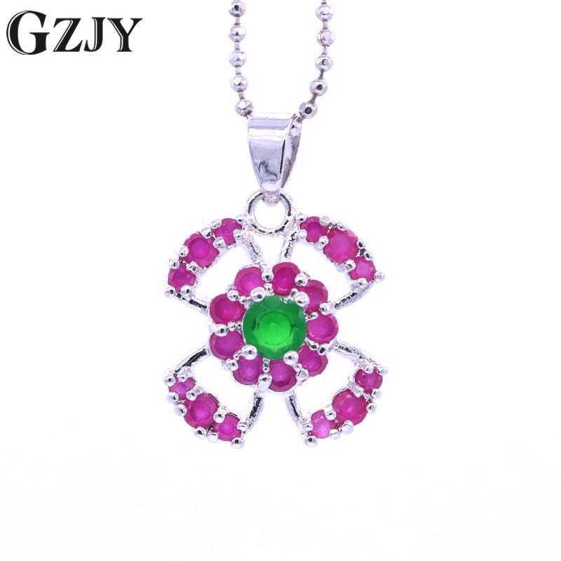 GZJY мода подвески Зеленый Красный Камень Циркон белое золото цвет ожерелье кулон для женщин подарок на День Рождения цепи bijoux femme ювелирные изделия