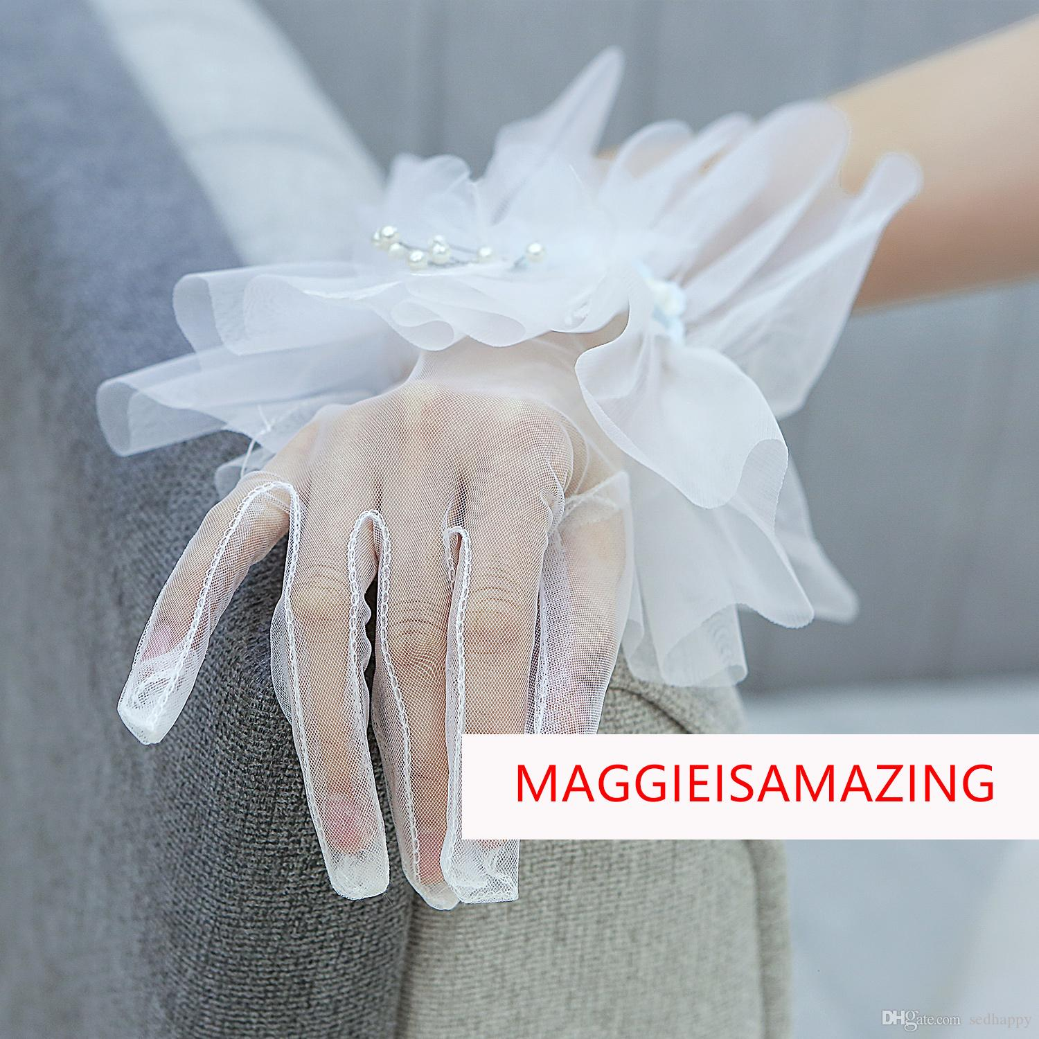MAGGIEISAMAZING Wholesale REAL PHOTOS wrist length simple tulle applique sheer white Bridal Gloves Bridal Accessories XWZ00119