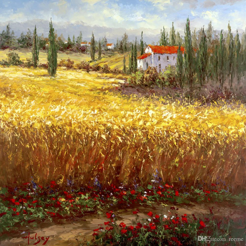 2020 Wall Art Mediterranean Landscape Oil Painting Tuscan Wheat