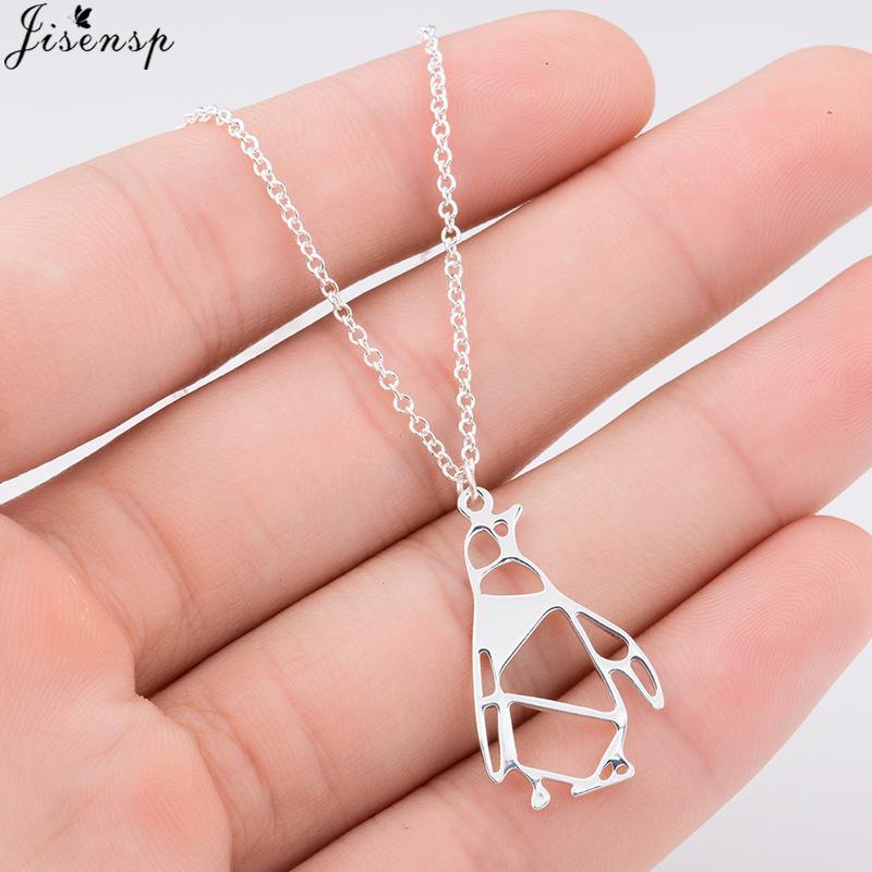 Jisensp Kolye 2019 Şanslı Origami Penguen Kolye Çocuklar Kız Güzel Canlı Hayvan Penguen kolye Trendy Mücevher için