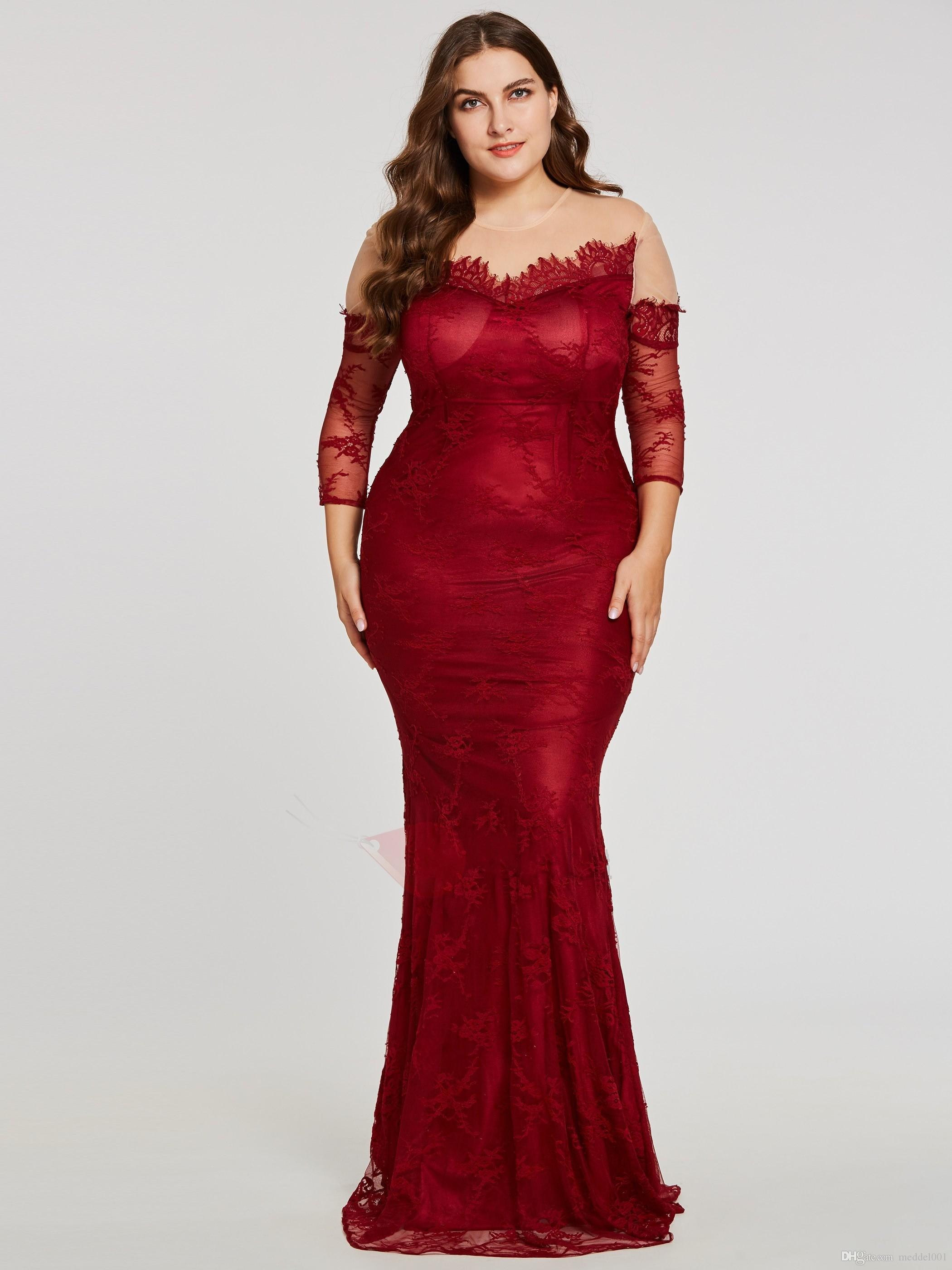 Wine Red Plus Size Special Occasion Dresses For Women Illusion Lace Sleeves  Sheer Neck 2019 Hollow Back Sheath Evening Prom Dress Plus Size Pants ...
