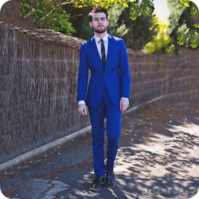 Königsblau Männer Anzüge für Hochzeit Bräutigam Smoking trajes de hombre 2Piece Slim Fit Kostüm Homme Schal Revers Man Outfits Terno Masculino