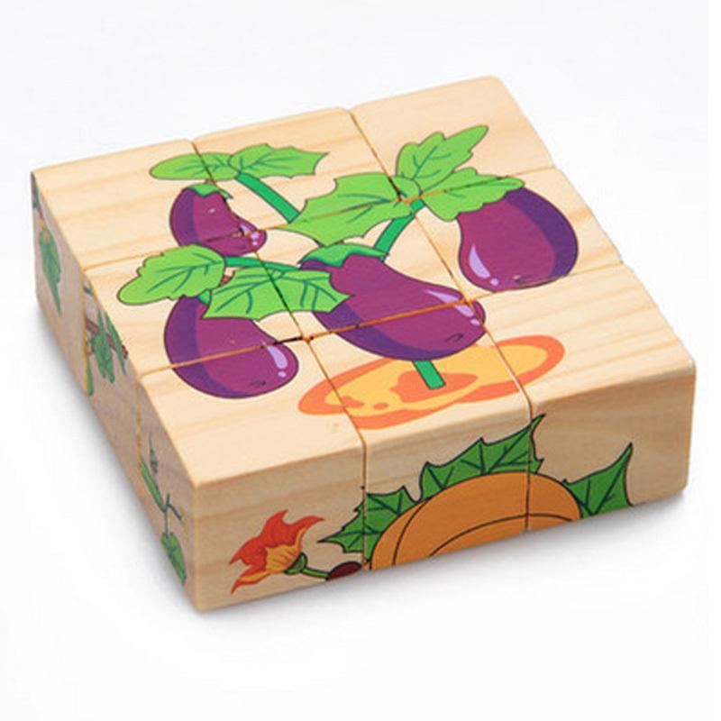 Puzzle di legno 3D 9 Pezzo Six Sided modello di apprendimento sono giocattoli per bambini All'inizio Educativo animali frutta regalo dei capretti Y200414