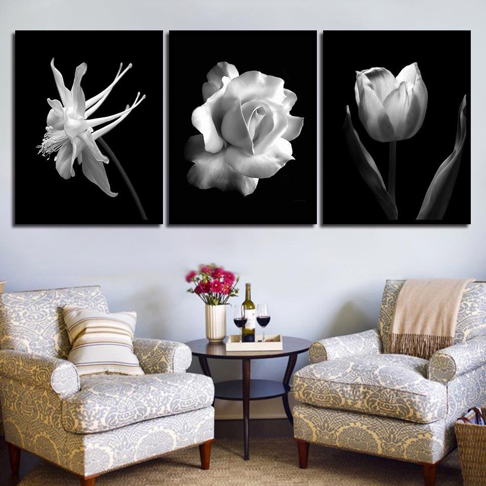 꽃 포스터 캔버스 미술에서 북유럽 블랙 화이트 추상 꽃 벽 그림 로즈 튤립 회화 스칸디나비아 인쇄하기