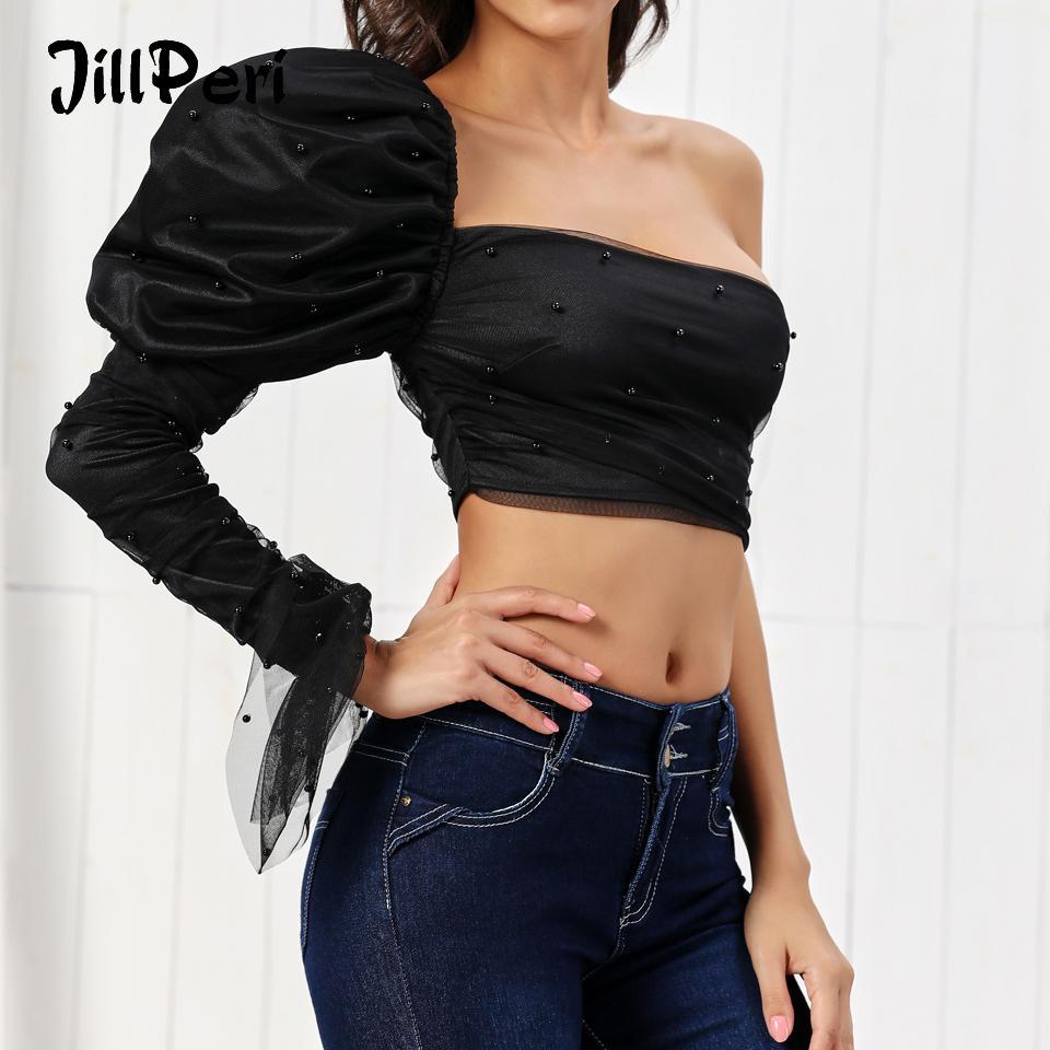 JillPeri Kadınlar Puff Kol Tek Omuz Mahsul En Seksi Straplez Katı Siyah Küçük Mesh Bluz Kıyafet Lüks Ultra Kısa Gömlek