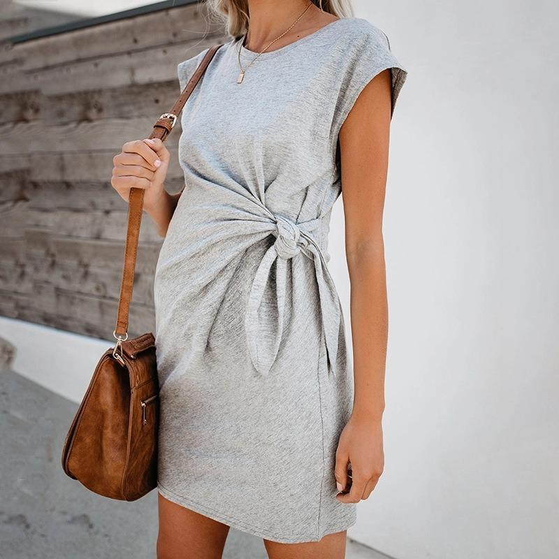 2020 горячая чистый цвет галстук-в талии беременных женщин платье мягкие и удобные хлопок пятно платья Vestidos Gestante беременность платье халат
