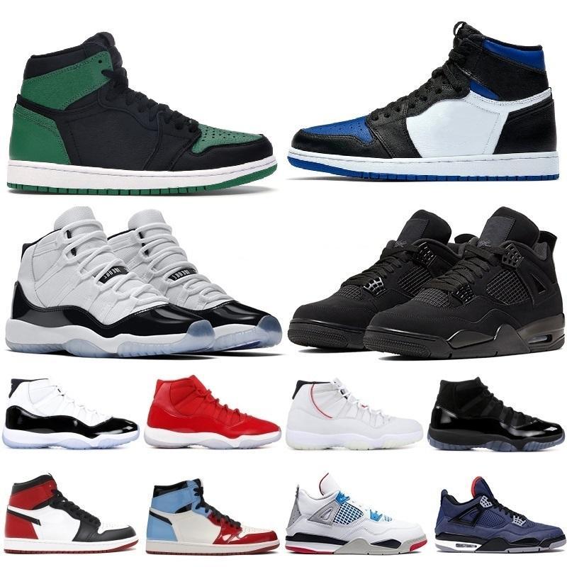 أحدث أحذية كرة السلة Jumpman 1 1S OG العليا جرين باين اسود المحكمة الأرجواني الملكي ولدت تو NC حجر السج UNC لعبة كرة السلة أولي المدربين