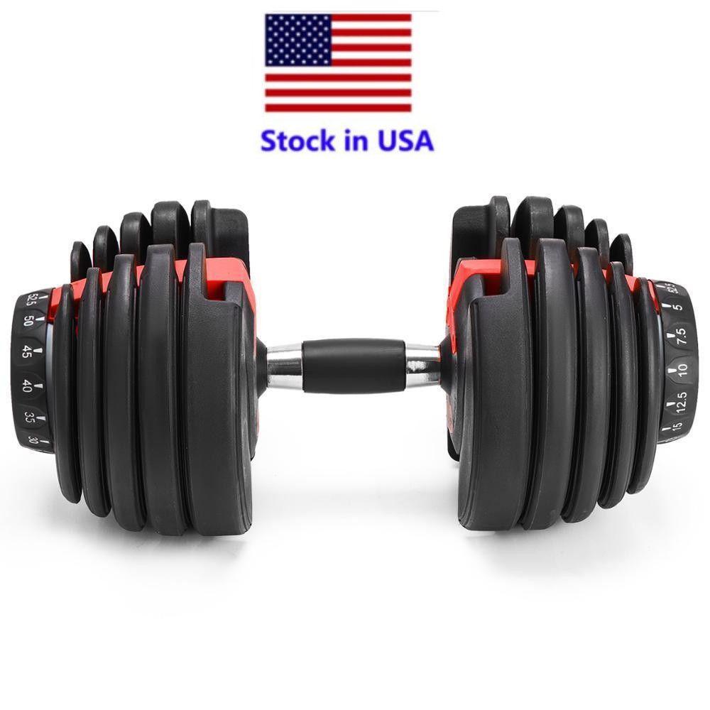 STOCK الولايات المتحدة، الوزن قابل للتعديل الدمبل 5-52.5lbs للياقة البدنية التدريبات الدمبل هجة قوتك وبناء العضلات