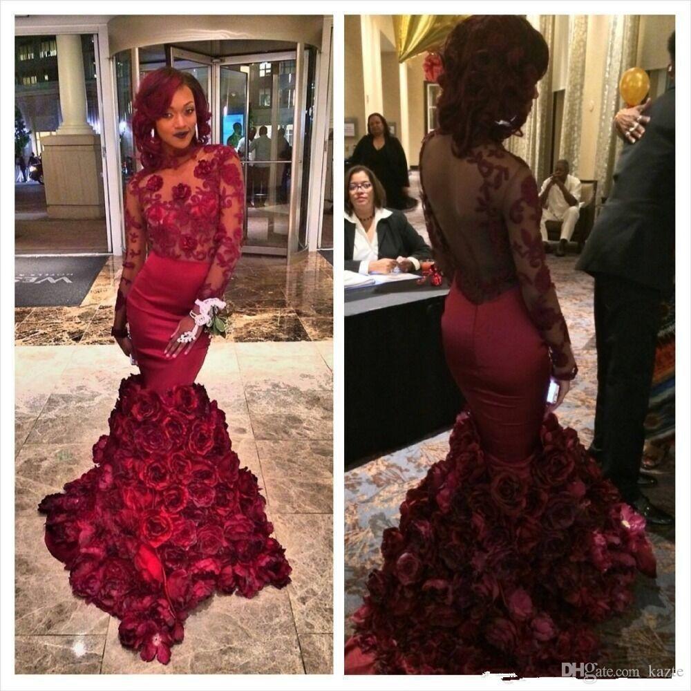 Romantik Kırmızı Abiye Mermaid Gül Çiçek Ile Ruffles Sheer Balo elbise Aplike Uzun Kollu Gelinlik Modelleri Sutyen Ile Sweep Tren