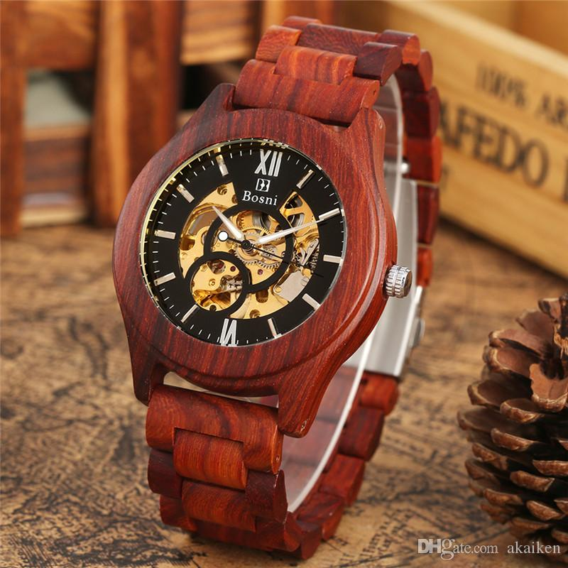 Handmade Natural Wood Men's Wooden Watch Red Sandalwood Automatic Mechanical Skeleton Wris Watches Full Bamboo Band Wedding Gift