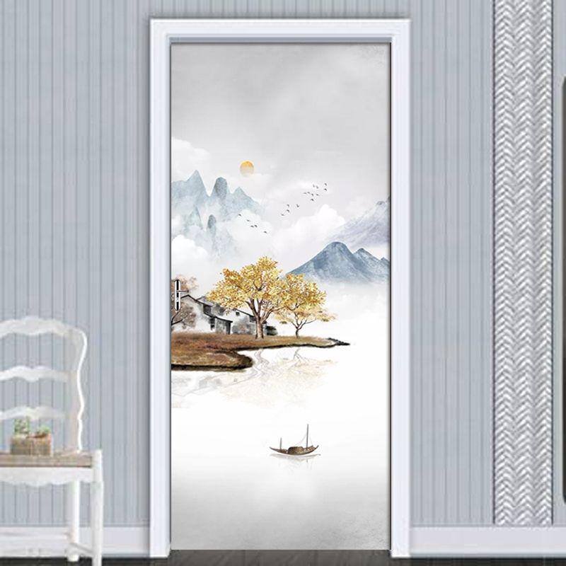 PVC 방수 셀프 접착 3D 문 스티커 중국 풍경 풍경 레트로 칼 팔러 침실 문 장식 벽 스티커 벽화