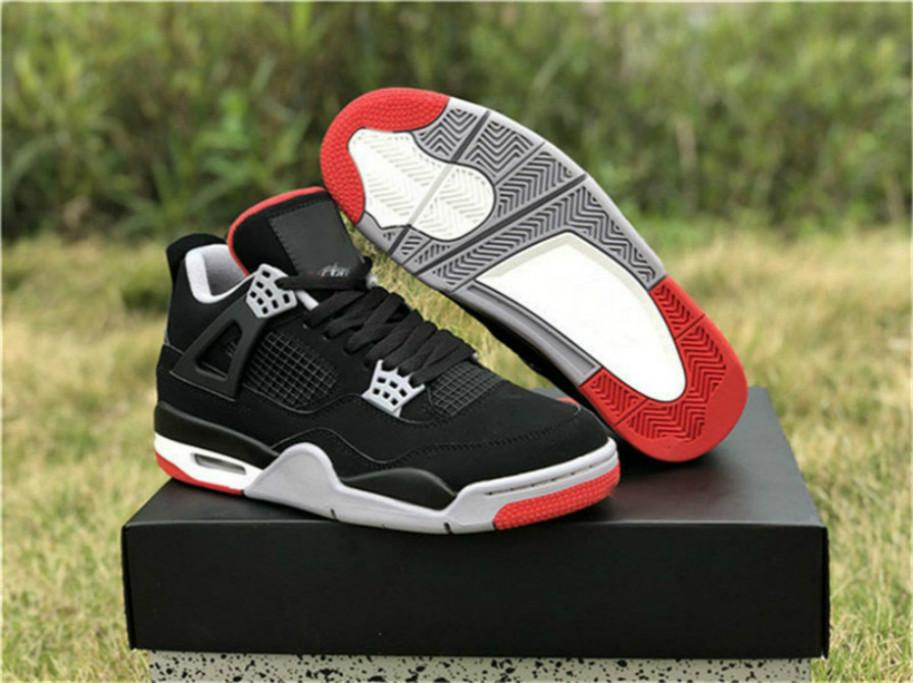 2019 más nuevo OG Auténtico 4 Bred Negro Cement Shoes Rojo Blanco 4S IV mujer del hombre de baloncesto zapatillas de deporte Deportes DC35