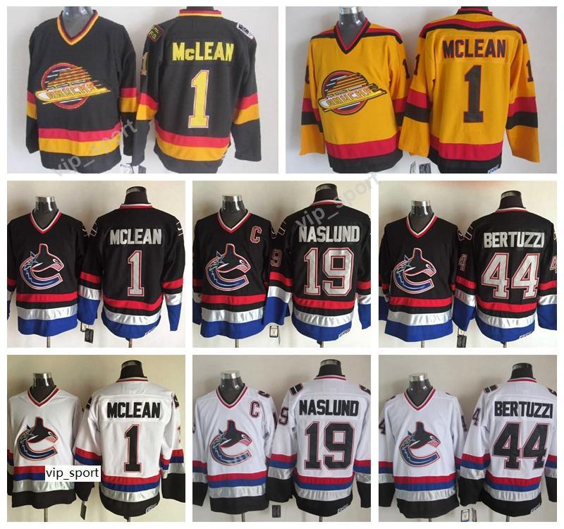 Canucks Jerseys Vancouver 1 Kirk McLean 19 Markus Naslund 44 Todd Bertuzzi Jersey Retro Hockey sobre hielo Todo Pedido Negro Amarillo Blanco