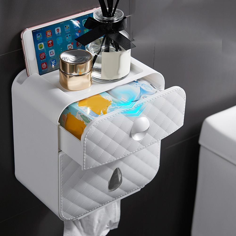 حمام ماء جدار جبل الأنسجة ورق التواليت لفة حامل التخزين حالة صندوق ورق التواليت حامل ورقة أنبوب صندوق التخزين الرئيسية