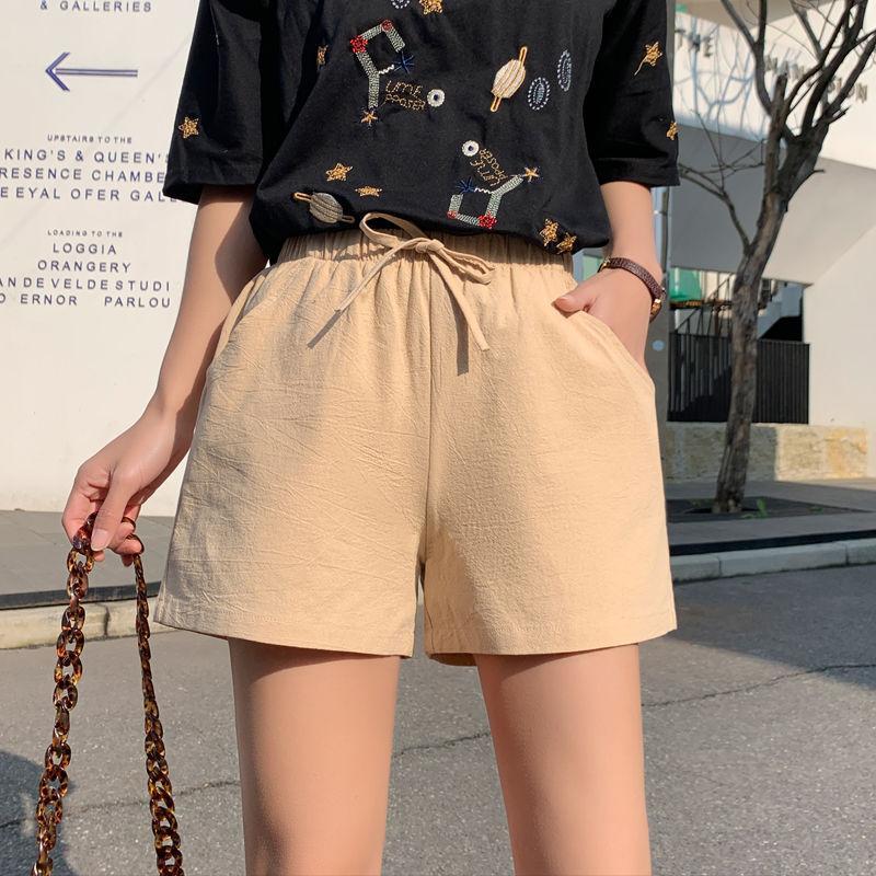 Casual Summer Court Femmes Slim Femme Shorts Mode Femmes coton Shorts pour dames Cordon élastique kaki Pantalon court