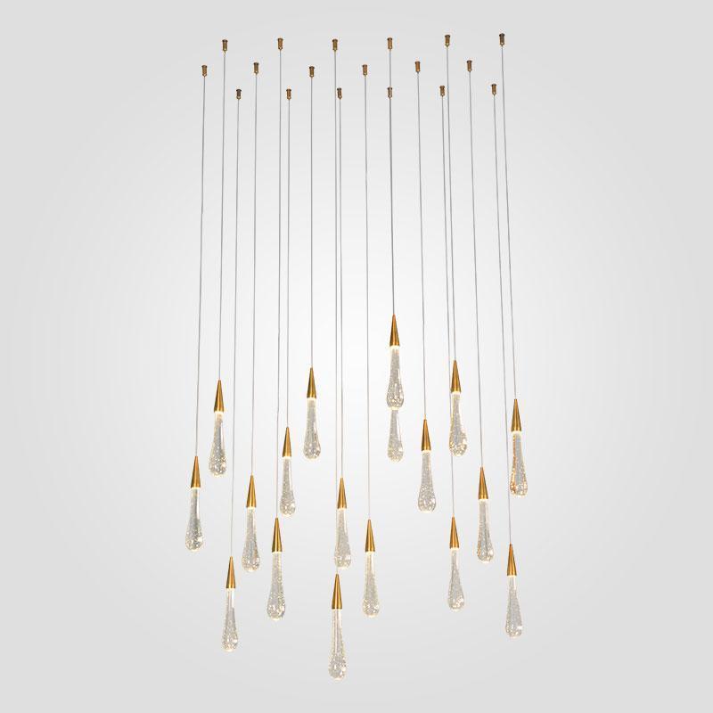 Luxuxgold Wasser-Tropfen-Kristall-LED Pendelleuchte European -Style Kristallleuchter-Beleuchtung für Wohnzimmer Restaurant Dekoration