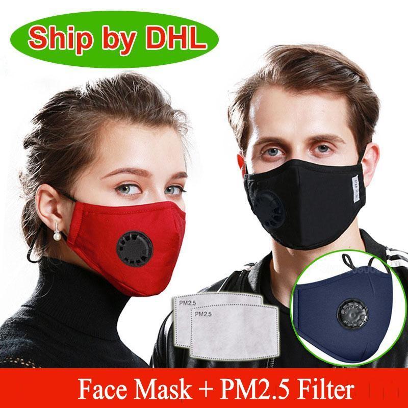 DHL Gemi Yüz Vana Yüz Maskesi Nefes Karbon Filtre Koruyucu yeniden kullanılabilir ile Anti-Dust Yıkanabilir Solunum PM2.5 Maskeler Maske