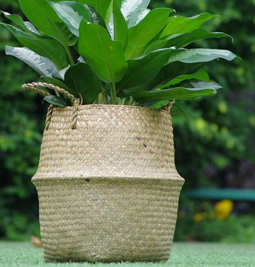 INS المنسوجة المنظم سلة وعاء حديقة زهرة زهرية حمل البطن سلة لتخزين النبات وعاء تغطية ديكور المنزل سلة KKA7954-1