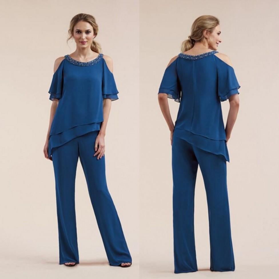 Royal Blue Beaded Mãe da noiva Pant ternos mangas curtas Two Pieces Convidado de Casamento vestido de chiffon Plus Size vestidos de mães do noivo