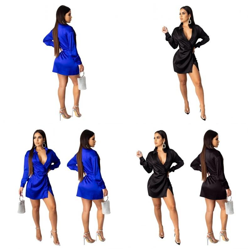 Ladies Sexy Mini Dresses Split Deep V Necks Hight Waist Pure Colors Womens Club Dress For Spring And Autumn Apparel Clothing 40sh E1