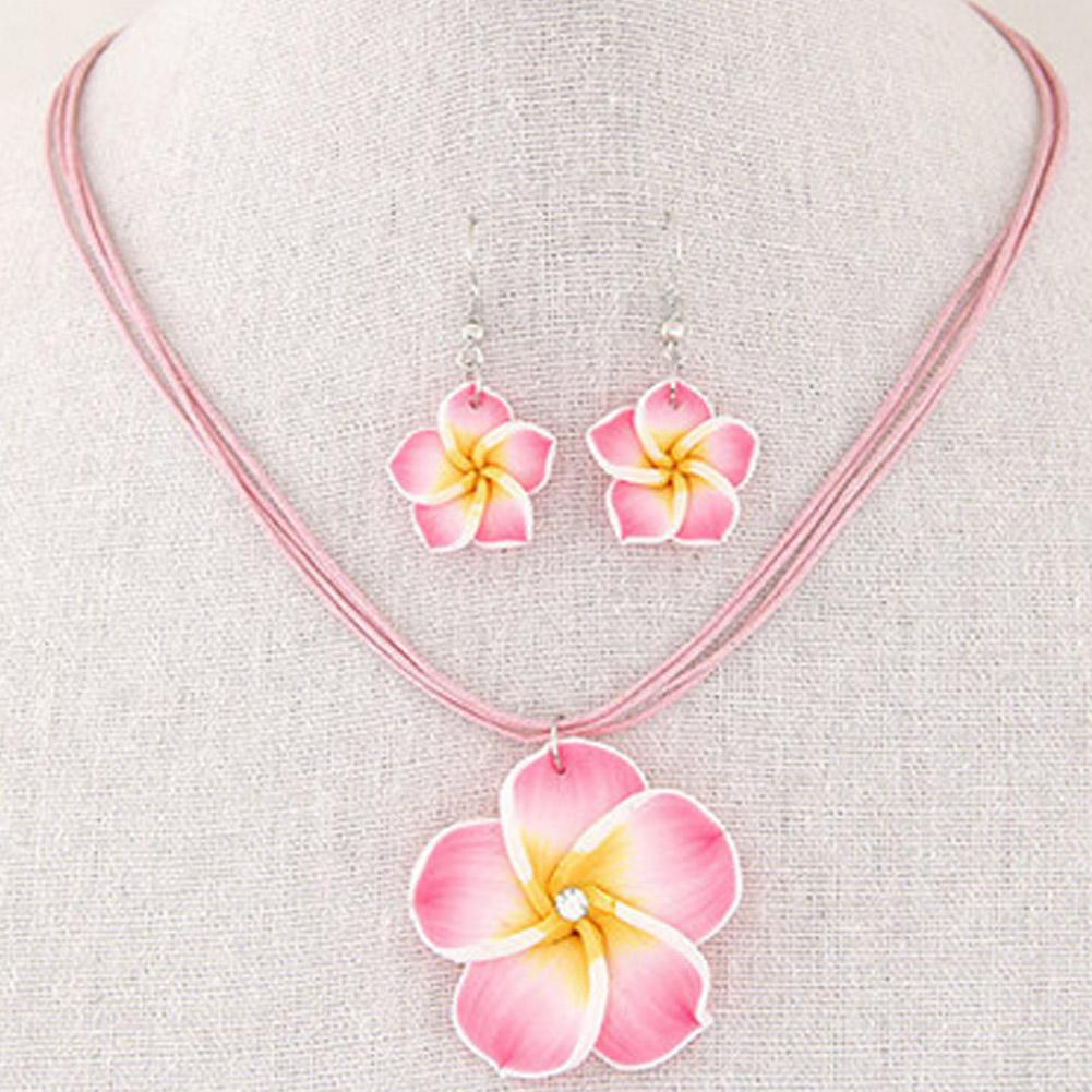 Moda Havaí Plumeria Flores Conjuntos de Jóias Bohemia Polymer Clay Brincos Colar de Pingente Conjuntos de Jóias para As Mulheres