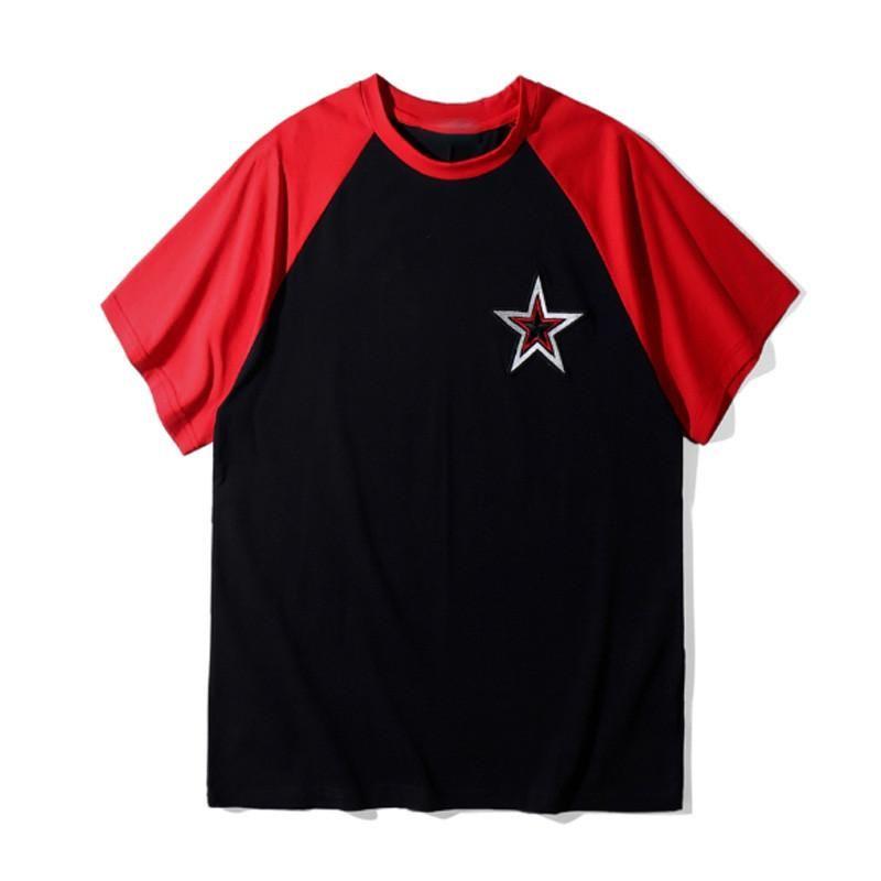 Известная торговой марка мужских футболок дизайнера Summer Hip Hop Вышивание звезда Пары Короткие рукава высокого качества Хлопок Мужчины Женщина тенниска