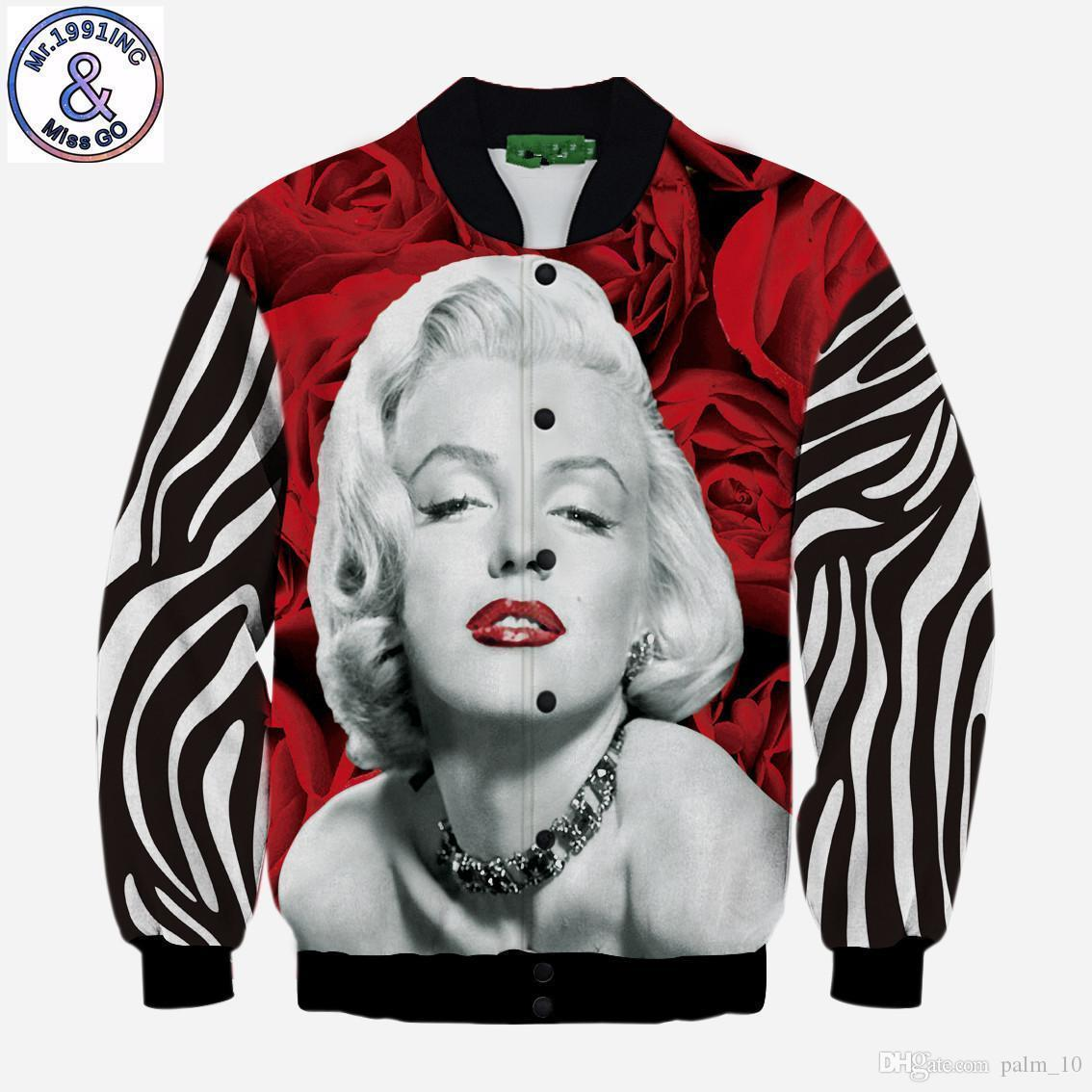 mens designer space cotton digital printing Monroe figure 3d couple warm jacket coat