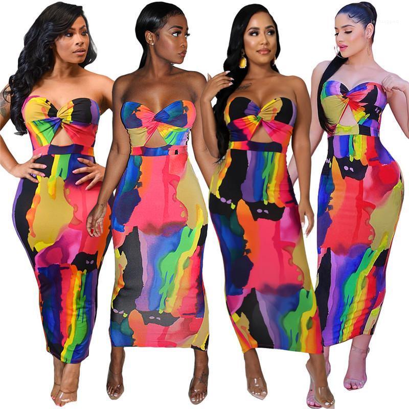 Fora Magro Maxi Envolvido Peito Tie Dye Vestidos Patchwork lindo Womens vestuário Hot Sale Womens Designer Sexy Pub Vestidos oco