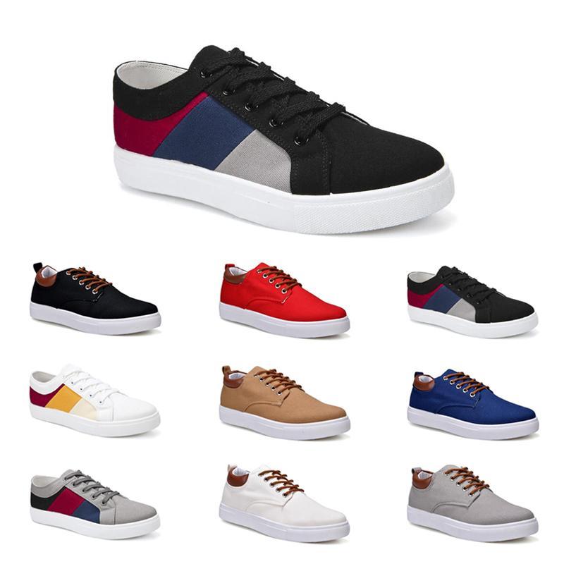 Ucuz Erkekler Ayakkabı No-Marka Tuval Spor Casual Sneakers Beyaz Siyah Kırmızı Gri Haki Mavi Moda Ayakkabılar Boyut 40-45 Yeni Stil # 33