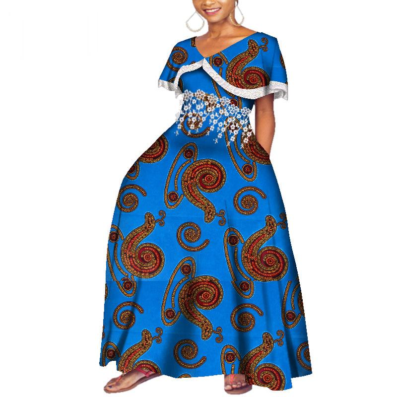 Bazin Riche Long Party Evening Dresses Women African Peter Pan Dresses for Women African Clothing Print Tassel Dresses WY3997