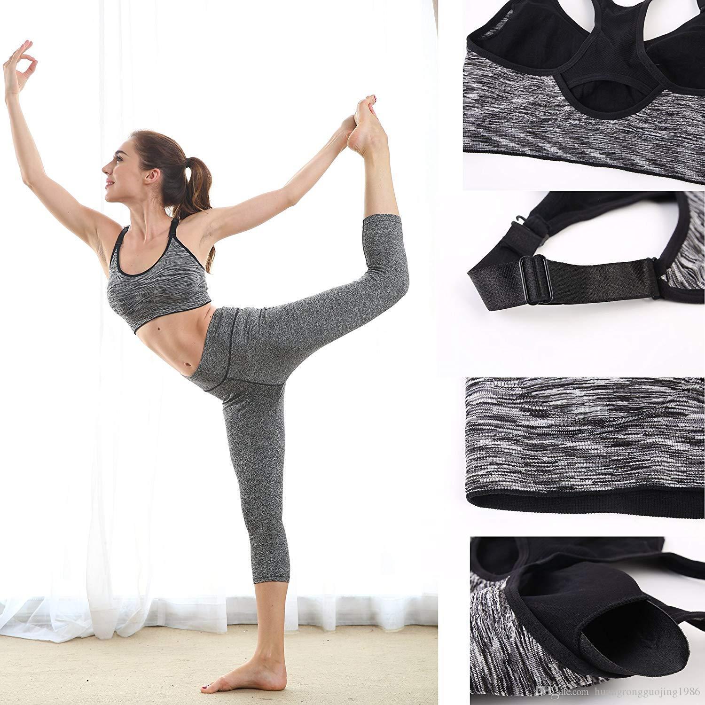 Дышащая конструкция Racerback Спорт Бюстгальтер для женщин Space Dye Съемные колодки для йоги Бег Фитнес тренировки