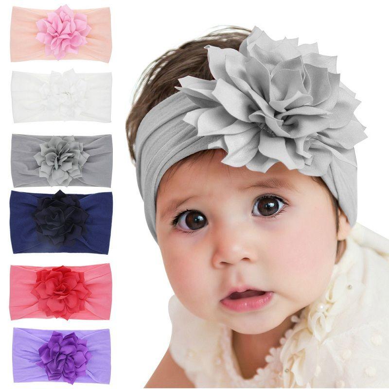 Lovely Baby Headband Girls Flower Nylon Headwear Turban Solid Hairband Newborn Head Wrap Elastic Infant haarband Accessories