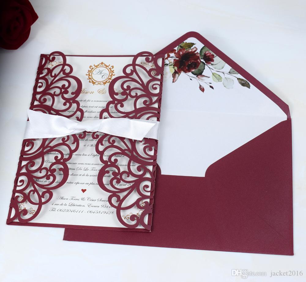 Luxury Marsala Rose Laser Cut Wedding Invitation with Bow and Flower Pearl Envelope DIY Burgundy Anniversary Invitations Customized Invites