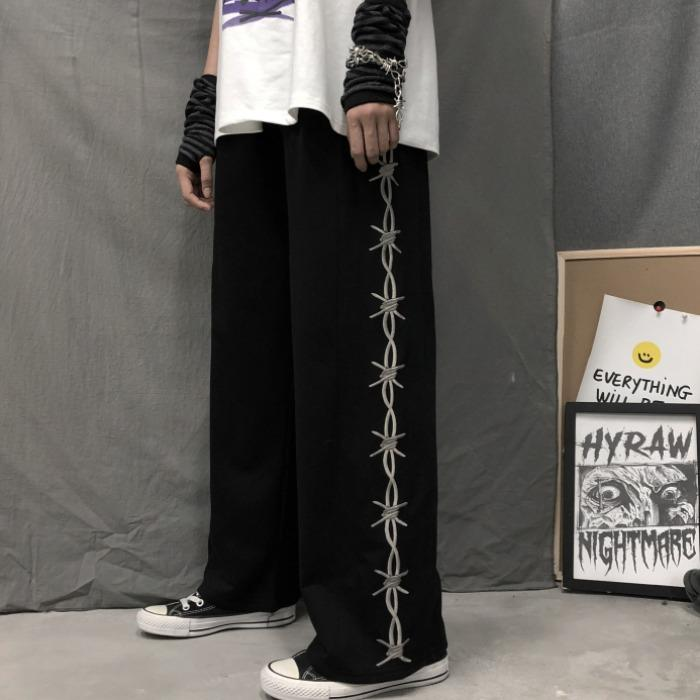 straight Capris casual style korean fashion Women's clothing harajuku ulzzang loose high waist corduroy straight pants black INS