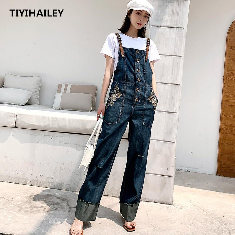 TIYIHAILEY Free Shipping Sleeveless Women Wide Leg Denim Embroidery Jumpsuit And Rompers S-XL Thin Summer Trousers With Pockets