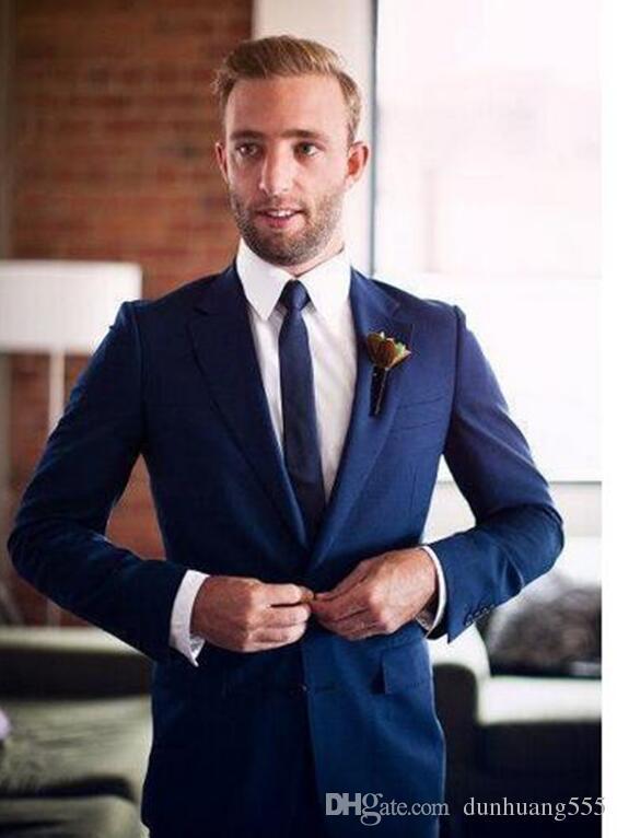 Abiti da uomo Slim Fit 2 pezzi Navy Groomsmen Smoking da sposa per uomo Notch Risvolto formale Prom Suit (Jacket + Pants) Custom Made